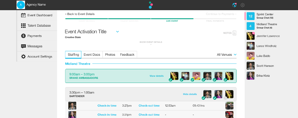 Check-in timestamps screenshot